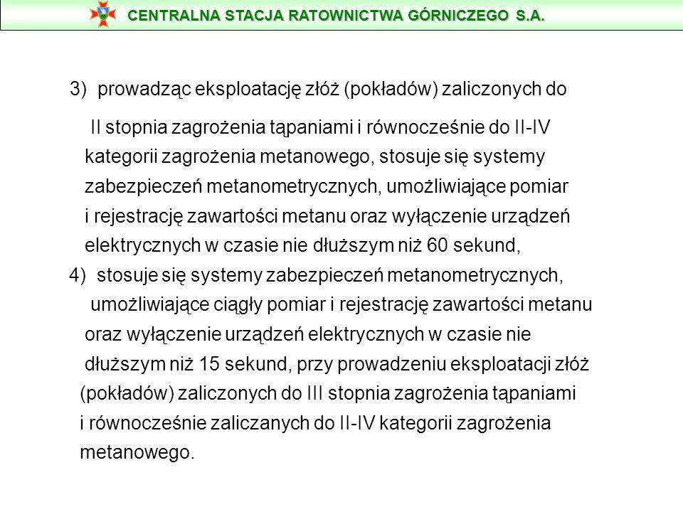 3) prowadząc eksploatację złóż (pokładów) zaliczonych do II stopnia zagrożenia tąpaniami i równocześnie do II-IV kategorii zagrożenia metanowego, stos