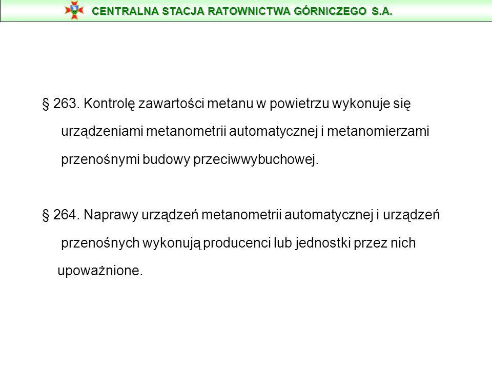 § 263. Kontrolę zawartości metanu w powietrzu wykonuje się urządzeniami metanometrii automatycznej i metanomierzami przenośnymi budowy przeciwwybuchow