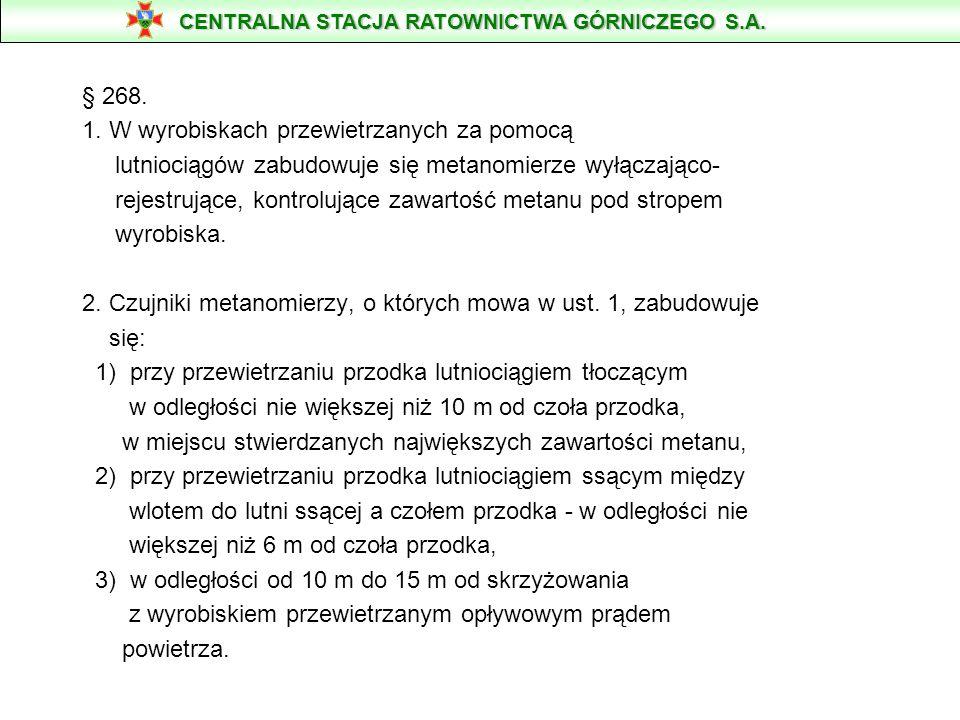 § 268. 1. W wyrobiskach przewietrzanych za pomocą lutniociągów zabudowuje się metanomierze wyłączająco- rejestrujące, kontrolujące zawartość metanu po
