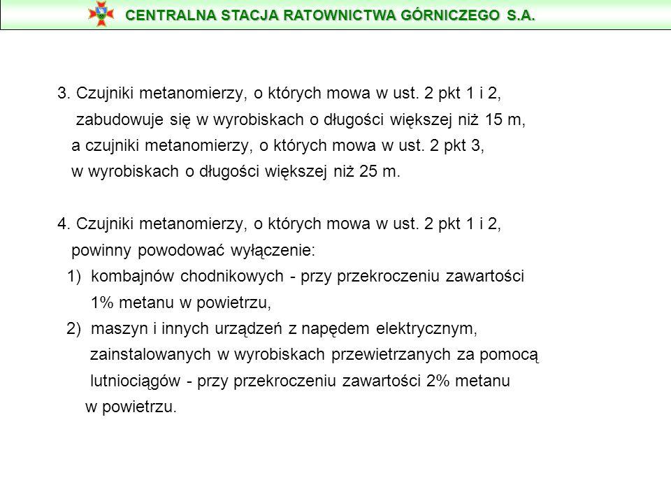 3. Czujniki metanomierzy, o których mowa w ust. 2 pkt 1 i 2, zabudowuje się w wyrobiskach o długości większej niż 15 m, a czujniki metanomierzy, o któ