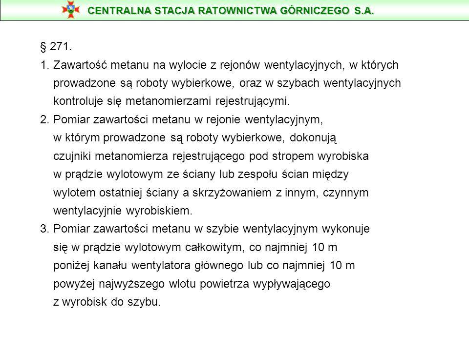 § 271. 1. Zawartość metanu na wylocie z rejonów wentylacyjnych, w których prowadzone są roboty wybierkowe, oraz w szybach wentylacyjnych kontroluje si