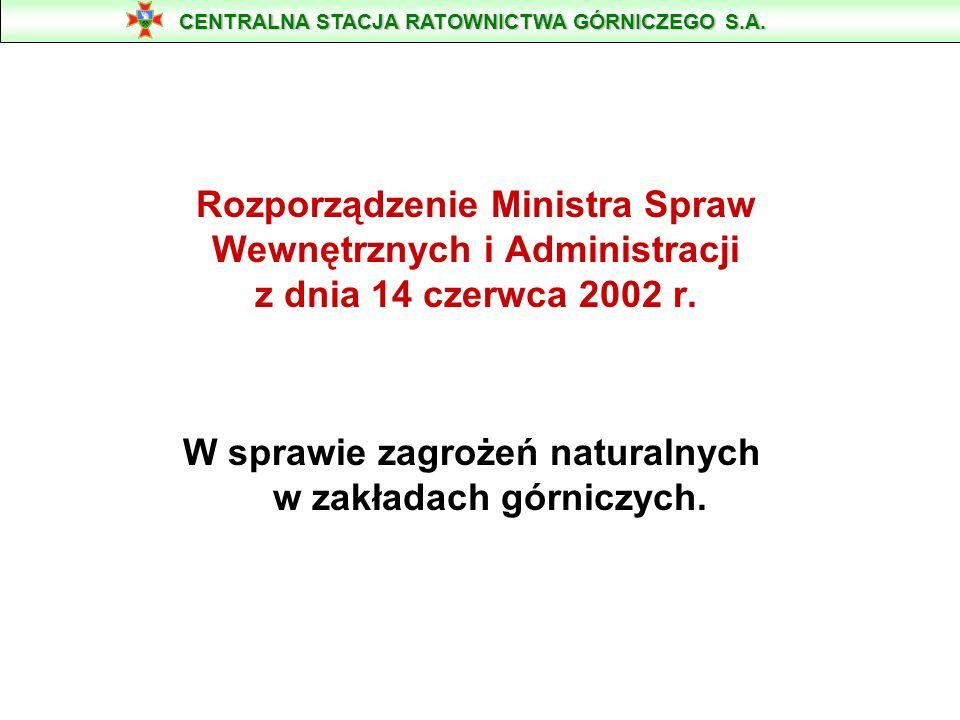 Rozporządzenie Ministra Spraw Wewnętrznych i Administracji z dnia 14 czerwca 2002 r. W sprawie zagrożeń naturalnych w zakładach górniczych. CENTRALNA