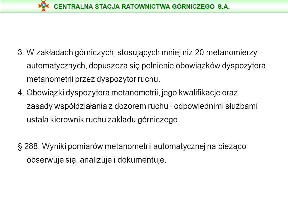 3. W zakładach górniczych, stosujących mniej niż 20 metanomierzy automatycznych, dopuszcza się pełnienie obowiązków dyspozytora metanometrii przez dys