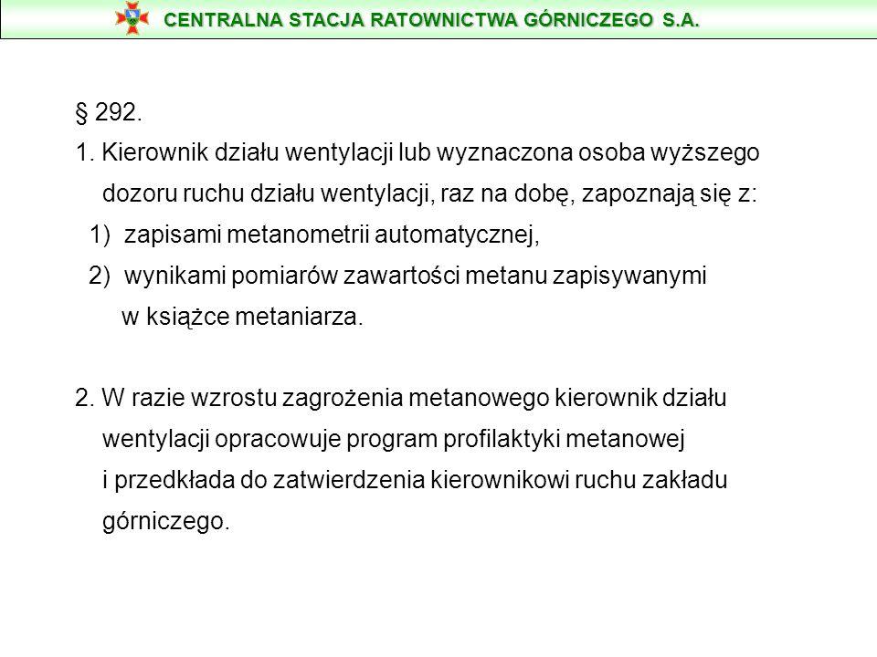 § 292. 1. Kierownik działu wentylacji lub wyznaczona osoba wyższego dozoru ruchu działu wentylacji, raz na dobę, zapoznają się z: 1) zapisami metanome