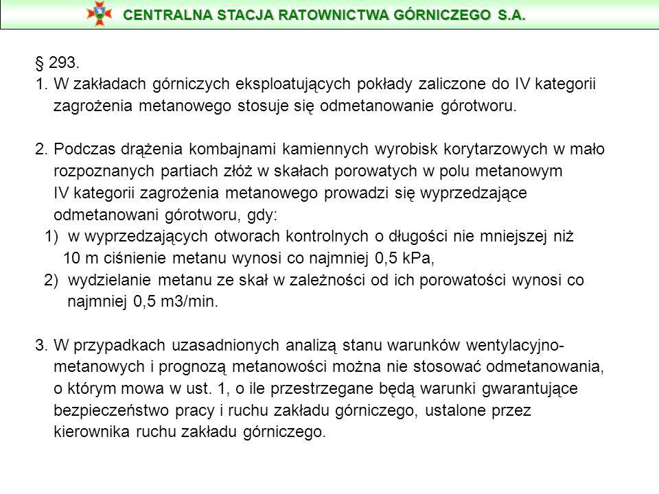 § 293. 1. W zakładach górniczych eksploatujących pokłady zaliczone do IV kategorii zagrożenia metanowego stosuje się odmetanowanie górotworu. 2. Podcz