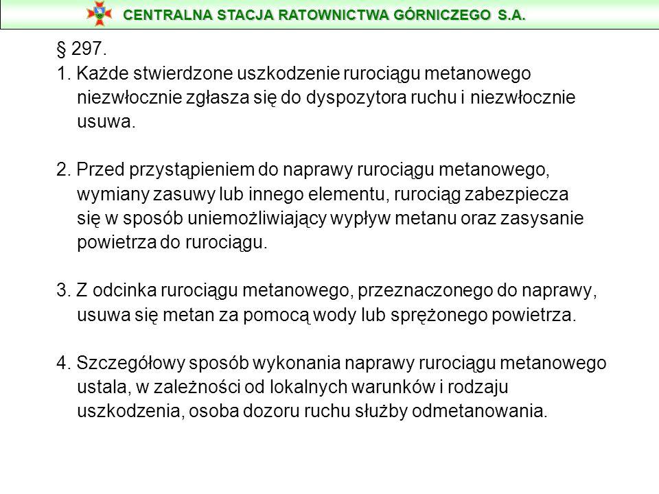 § 297. 1. Każde stwierdzone uszkodzenie rurociągu metanowego niezwłocznie zgłasza się do dyspozytora ruchu i niezwłocznie usuwa. 2. Przed przystąpieni