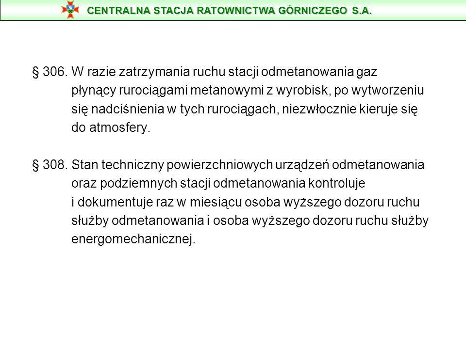§ 306. W razie zatrzymania ruchu stacji odmetanowania gaz płynący rurociągami metanowymi z wyrobisk, po wytworzeniu się nadciśnienia w tych rurociągac
