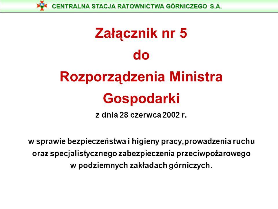 Załącznik nr 5 do Rozporządzenia Ministra Gospodarki z dnia 28 czerwca 2002 r. w sprawie bezpieczeństwa i higieny pracy,prowadzenia ruchu oraz specjal