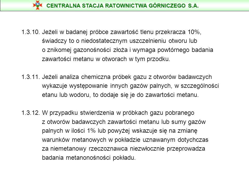 1.3.10. Jeżeli w badanej próbce zawartość tlenu przekracza 10%, świadczy to o niedostatecznym uszczelnieniu otworu lub o znikomej gazonośności złoża i