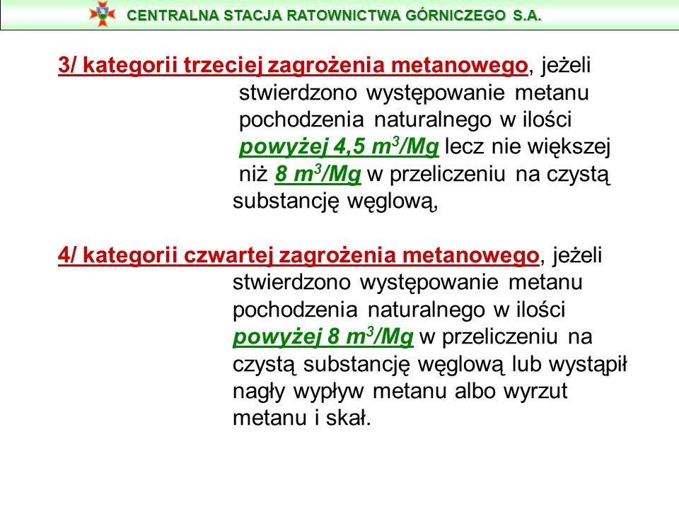 3/ kategorii trzeciej zagrożenia metanowego, jeżeli stwierdzono występowanie metanu pochodzenia naturalnego w ilości powyżej 4,5 m 3 /Mg lecz nie więk