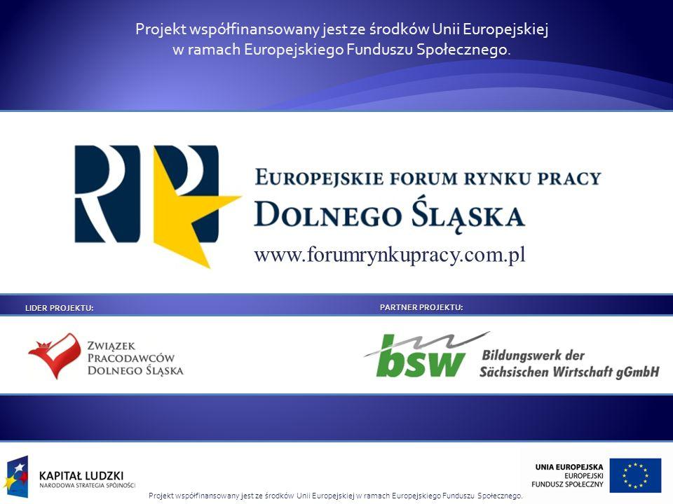 Projekt współfinansowany jest ze środków Unii Europejskiej w ramach Europejskiego Funduszu Społecznego. LIDER PROJEKTU: PARTNER PROJEKTU: www.forumryn
