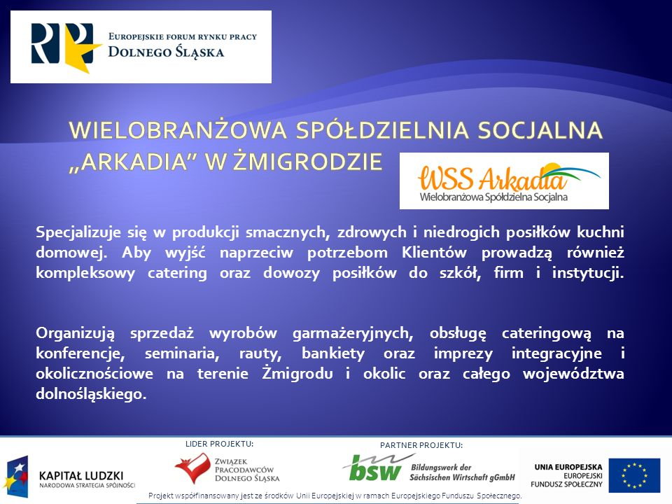Projekt współfinansowany jest ze środków Unii Europejskiej w ramach Europejskiego Funduszu Społecznego. LIDER PROJEKTU: PARTNER PROJEKTU: Specjalizuje