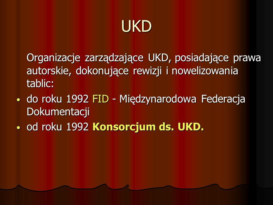 UKD Organizacje zarządzające UKD, posiadające prawa autorskie, dokonujące rewizji i nowelizowania tablic: do roku 1992 FID - Międzynarodowa Federacja Dokumentacji do roku 1992 FID - Międzynarodowa Federacja Dokumentacji od roku 1992 Konsorcjum ds.