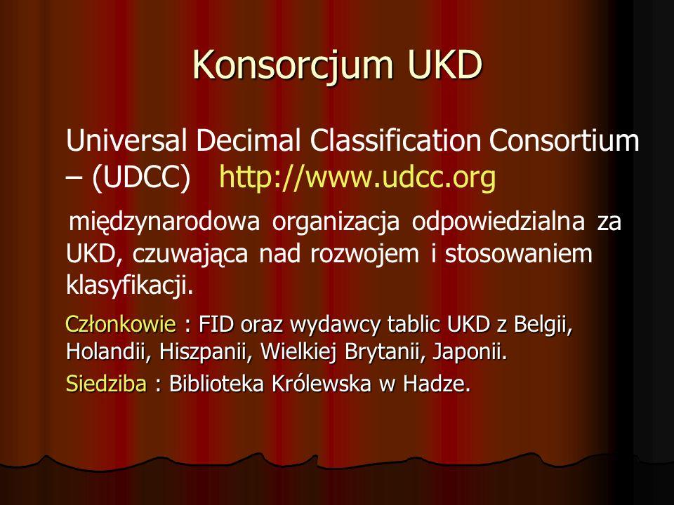 Konsorcjum UKD Universal Decimal Classification Consortium – (UDCC) http://www.udcc.org międzynarodowa organizacja odpowiedzialna za UKD, czuwająca na