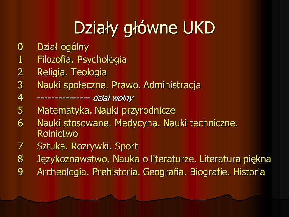 Działy główne UKD 0 Dział ogólny 1Filozofia.Psychologia 2Religia.