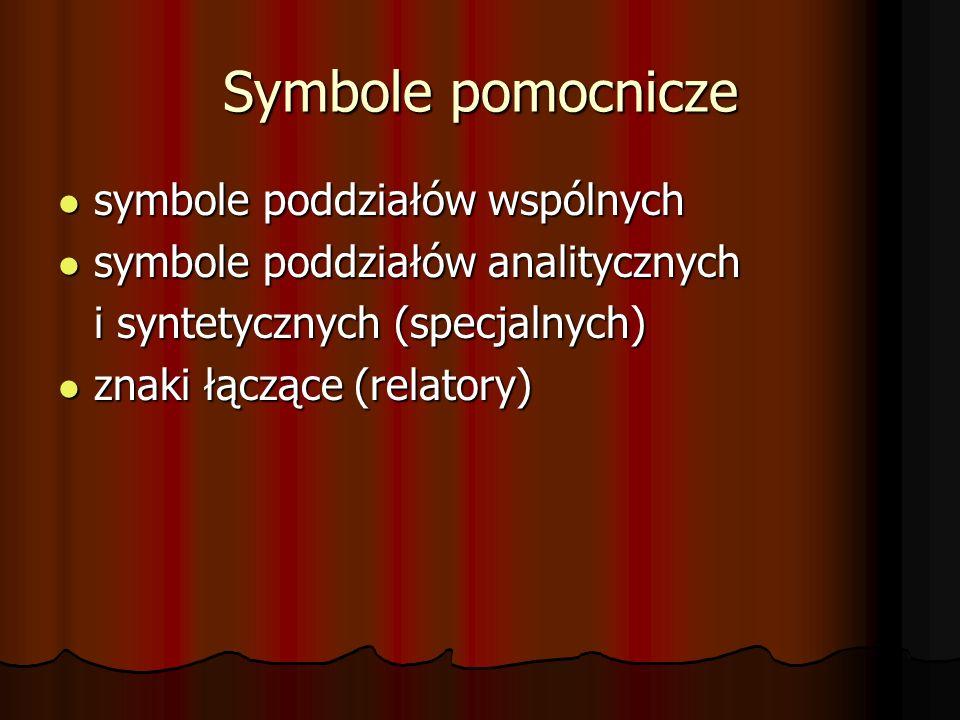 Symbole pomocnicze symbole poddziałów wspólnych symbole poddziałów wspólnych symbole poddziałów analitycznych symbole poddziałów analitycznych i syntetycznych (specjalnych) znaki łączące (relatory) znaki łączące (relatory)