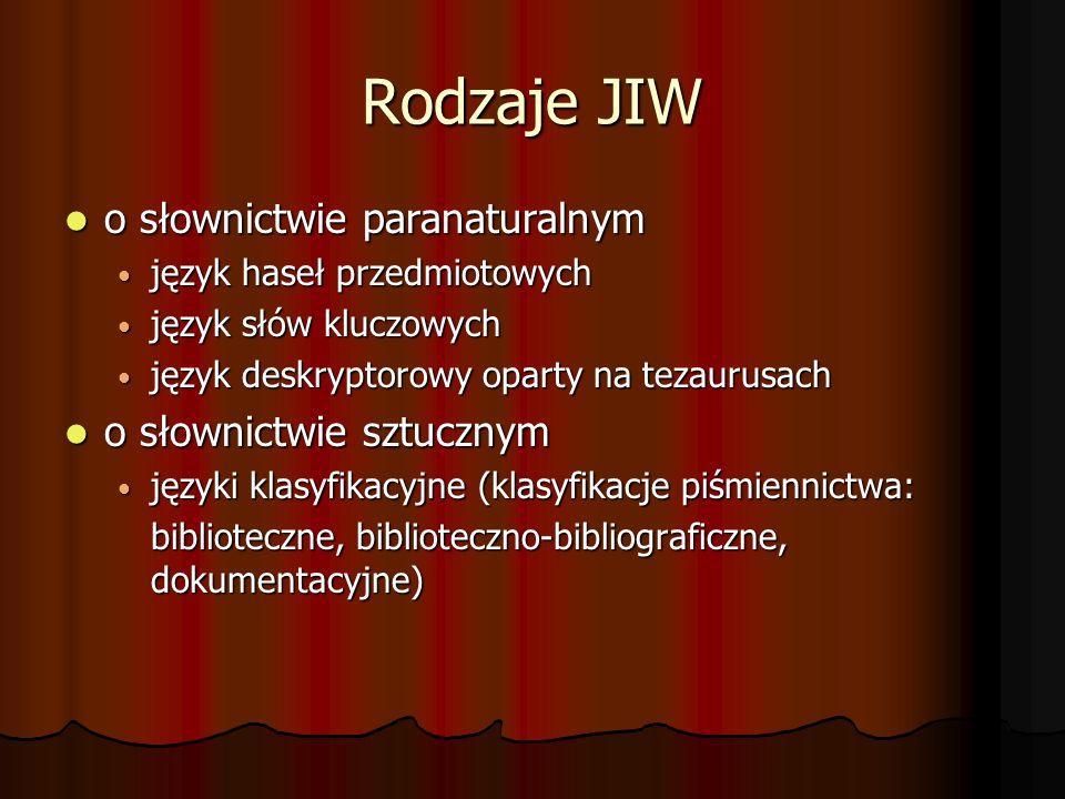 Rodzaje JIW o słownictwie paranaturalnym o słownictwie paranaturalnym język haseł przedmiotowych język haseł przedmiotowych język słów kluczowych język słów kluczowych język deskryptorowy oparty na tezaurusach język deskryptorowy oparty na tezaurusach o słownictwie sztucznym o słownictwie sztucznym języki klasyfikacyjne (klasyfikacje piśmiennictwa: języki klasyfikacyjne (klasyfikacje piśmiennictwa: biblioteczne, biblioteczno-bibliograficzne, dokumentacyjne) biblioteczne, biblioteczno-bibliograficzne, dokumentacyjne)