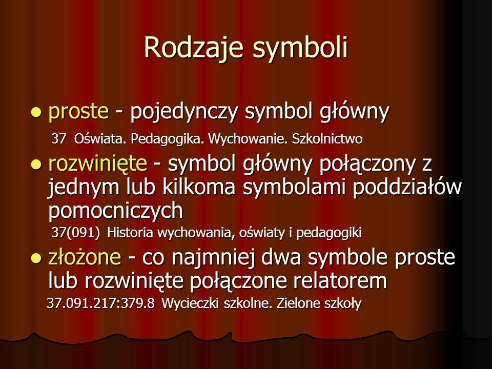 Rodzaje symboli proste - pojedynczy symbol główny proste - pojedynczy symbol główny 37 Oświata. Pedagogika. Wychowanie. Szkolnictwo 37 Oświata. Pedago