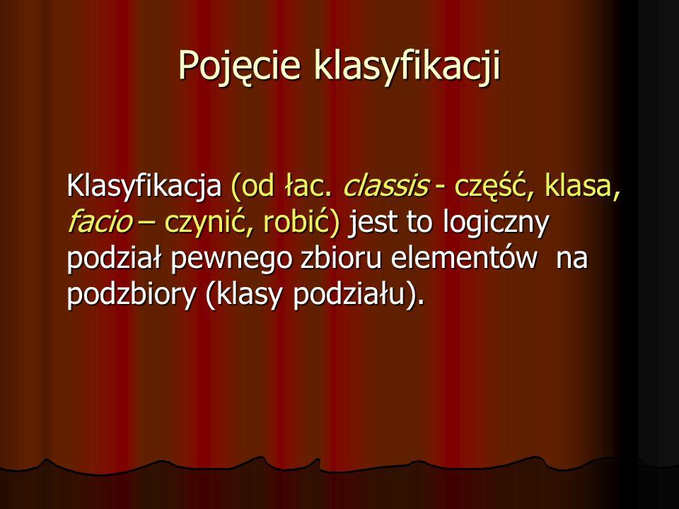 Pojęcie klasyfikacji Klasyfikacja (od łac. classis - część, klasa, facio – czynić, robić) jest to logiczny podział pewnego zbioru elementów na podzbio