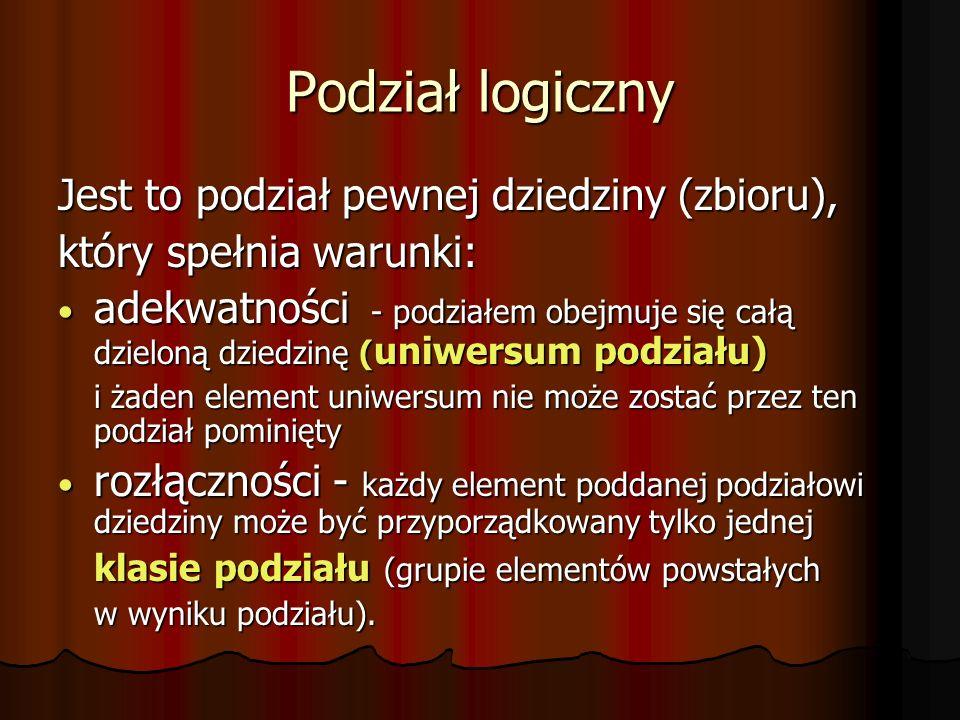 Podział logiczny Jest to podział pewnej dziedziny (zbioru), który spełnia warunki: adekwatności - podziałem obejmuje się całą dzieloną dziedzinę ( uniwersum podziału) adekwatności - podziałem obejmuje się całą dzieloną dziedzinę ( uniwersum podziału) i żaden element uniwersum nie może zostać przez ten podział pominięty rozłączności - każdy element poddanej podziałowi dziedziny może być przyporządkowany tylko jednej rozłączności - każdy element poddanej podziałowi dziedziny może być przyporządkowany tylko jednej klasie podziału (grupie elementów powstałych w wyniku podziału).
