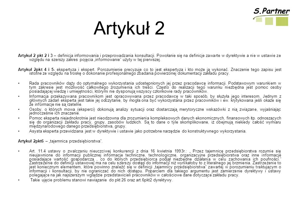 Artykuł 2 Artykuł 2 pkt 2 i 3 – definicja informowania i przeprowadzania konsultacji.