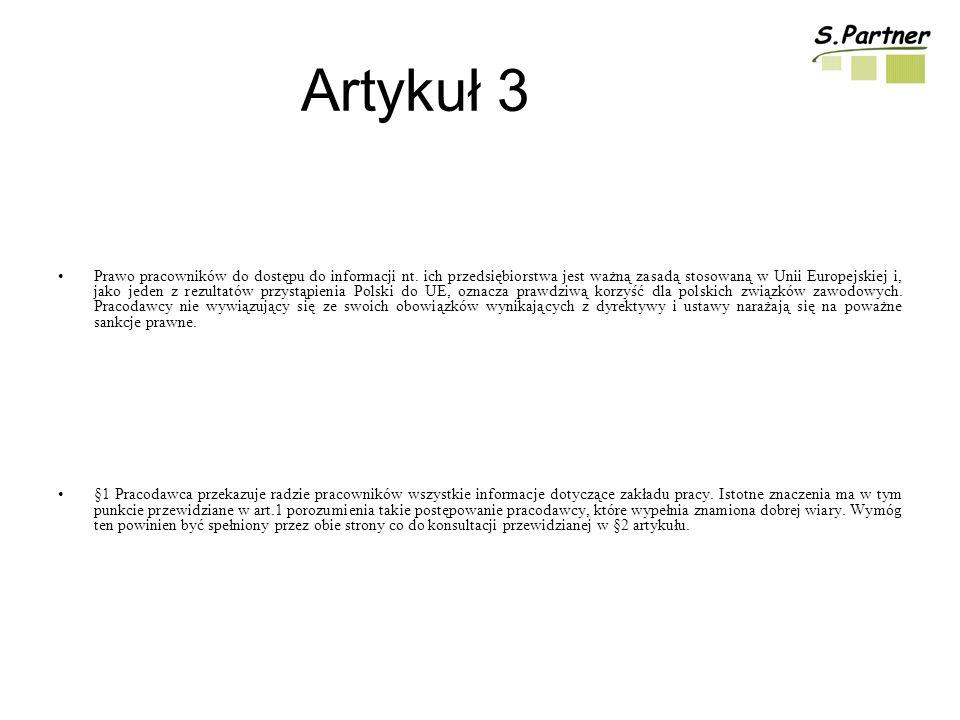 Artykuł 3 Prawo pracowników do dostępu do informacji nt.