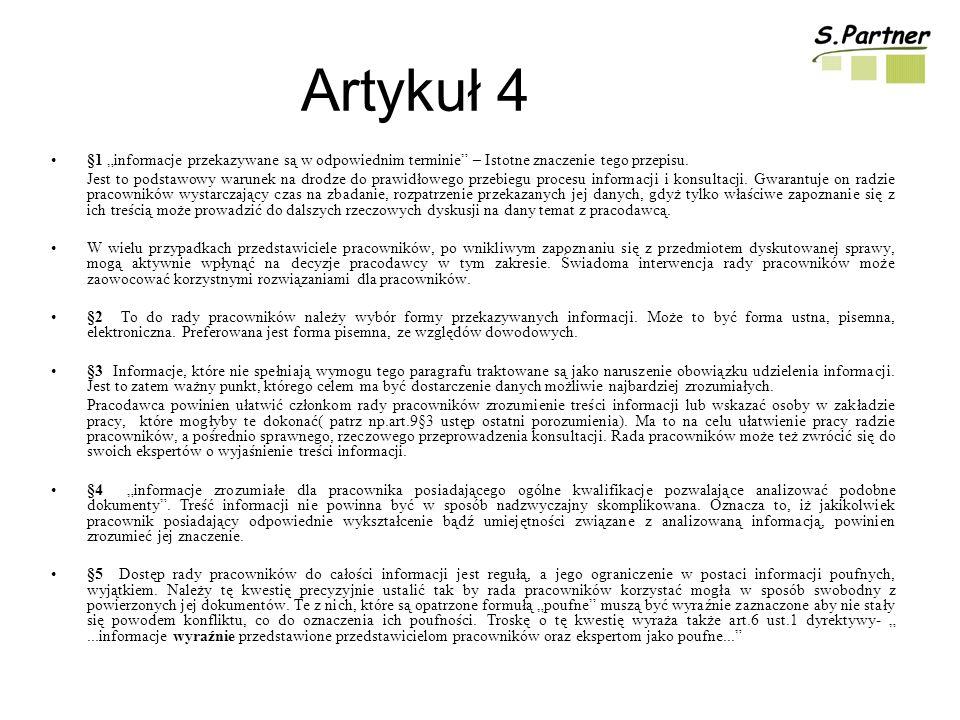 Artykuł 4 §1 informacje przekazywane są w odpowiednim terminie – Istotne znaczenie tego przepisu.