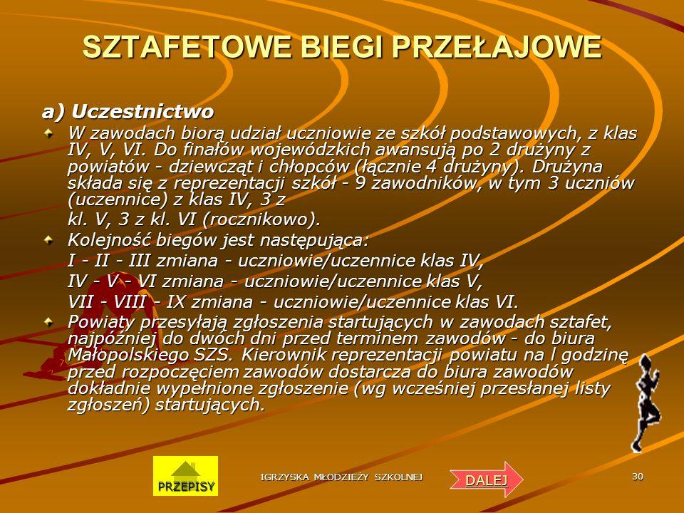 IGRZYSKA MŁODZIEŻY SZKOLNEJ 29 INDYWIDUALNE BIEGI PRZEŁAJOWE a) Uczestnictwo Zasady przeprowadzania eliminacji powiatowych ustalają Powiatowe SZS. Do