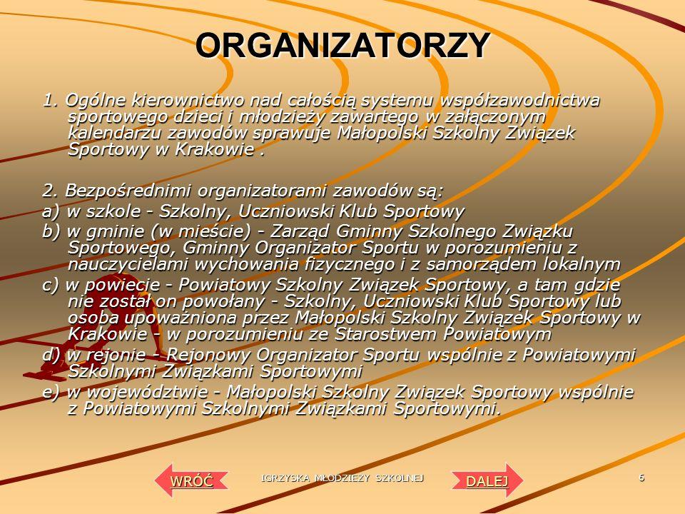 IGRZYSKA MŁODZIEŻY SZKOLNEJ 5 CELE I ZADANIA 1. Zawody szkolne i międzyszkolne stanowią integralną część ogólnopolskiego systemu współzawodnictwa spor