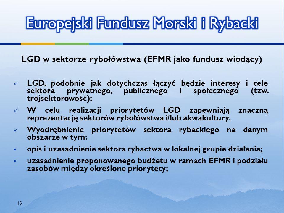 LGD w sektorze rybołówstwa (EFMR jako fundusz wiodący) LGD, podobnie jak dotychczas łączyć będzie interesy i cele sektora prywatnego, publicznego i sp
