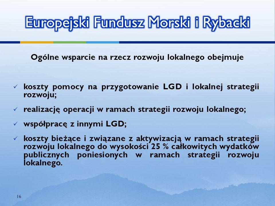 Ogólne wsparcie na rzecz rozwoju lokalnego obejmuje koszty pomocy na przygotowanie LGD i lokalnej strategii rozwoju; realizację operacji w ramach stra