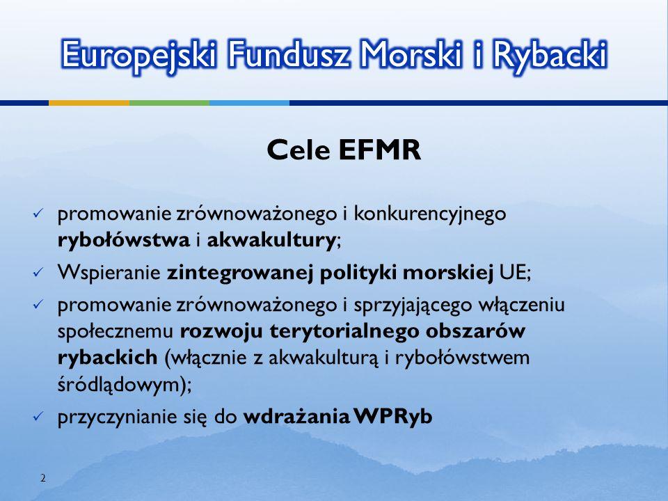 Cele EFMR promowanie zrównoważonego i konkurencyjnegorybołówstwa i akwakultury ; Wspieranie zintegrowanej polityki morskiej UE; promowanie zrównoważon