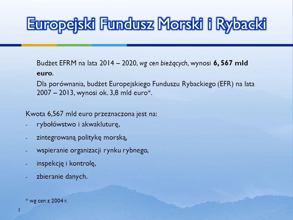 Budżet EFRM na lata 2014 – 2020, wg cen bieżących, wynosi 6, 567 mld euro. Dla porównania, budżet Europejskiego Funduszu Rybackiego (EFR) na lata2007