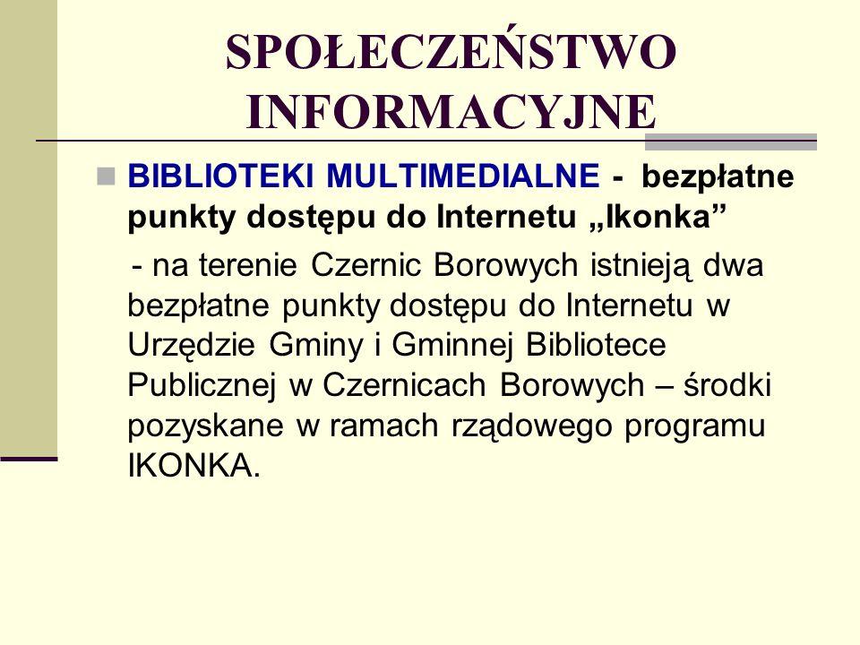 SPOŁECZEŃSTWO INFORMACYJNE BIBLIOTEKI MULTIMEDIALNE - bezpłatne punkty dostępu do Internetu Ikonka - na terenie Czernic Borowych istnieją dwa bezpłatne punkty dostępu do Internetu w Urzędzie Gminy i Gminnej Bibliotece Publicznej w Czernicach Borowych – środki pozyskane w ramach rządowego programu IKONKA.