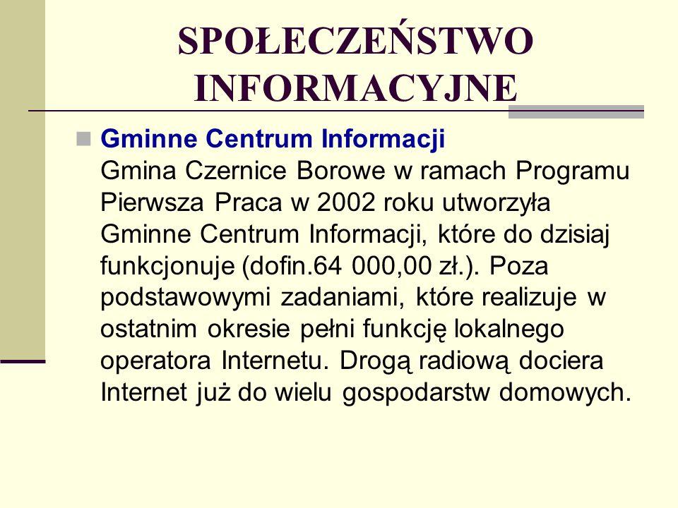 SPOŁECZEŃSTWO INFORMACYJNE Gminne Centrum Informacji Gmina Czernice Borowe w ramach Programu Pierwsza Praca w 2002 roku utworzyła Gminne Centrum Informacji, które do dzisiaj funkcjonuje (dofin.64 000,00 zł.).