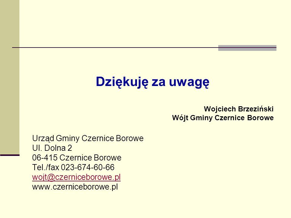 Dziękuję za uwagę Wojciech Brzeziński Wójt Gminy Czernice Borowe Urząd Gminy Czernice Borowe Ul. Dolna 2 06-415 Czernice Borowe Tel./fax 023-674-60-66
