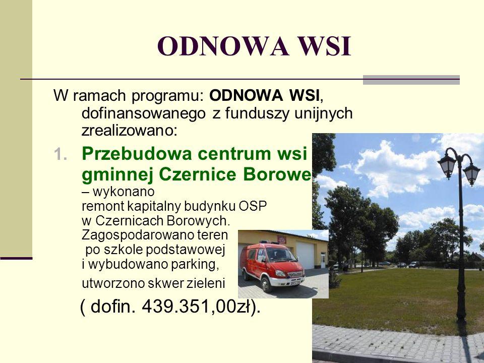 ODNOWA WSI W ramach programu: ODNOWA WSI, dofinansowanego z funduszy unijnych zrealizowano: 1. Przebudowa centrum wsi gminnej Czernice Borowe – wykona