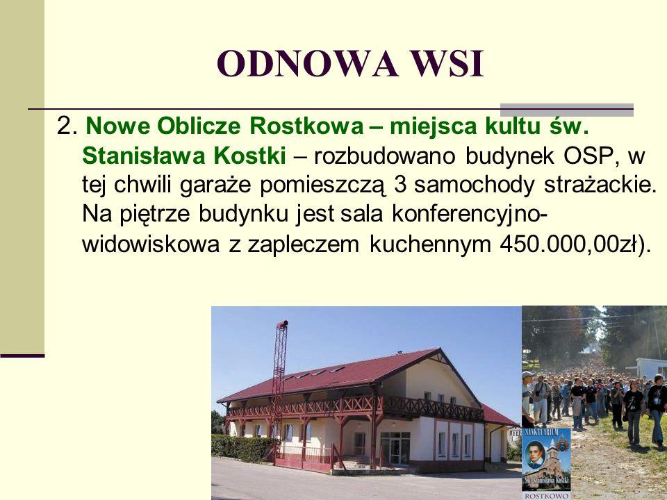 ODNOWA WSI 2. Nowe Oblicze Rostkowa – miejsca kultu św. Stanisława Kostki – rozbudowano budynek OSP, w tej chwili garaże pomieszczą 3 samochody straża