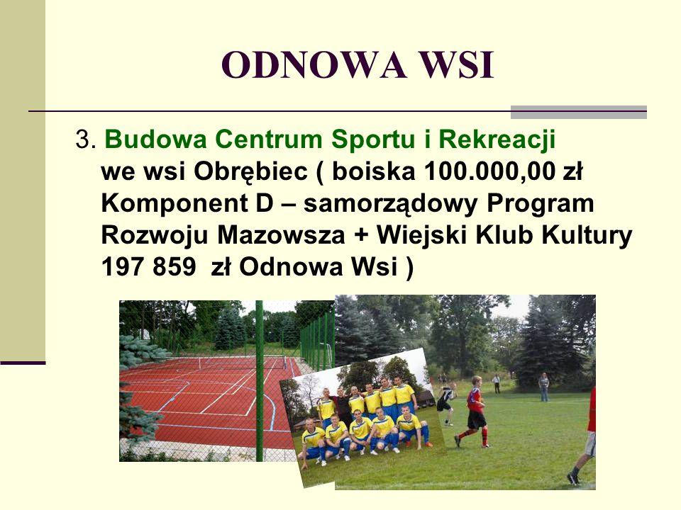ODNOWA WSI 3. Budowa Centrum Sportu i Rekreacji we wsi Obrębiec ( boiska 100.000,00 zł Komponent D – samorządowy Program Rozwoju Mazowsza + Wiejski Kl