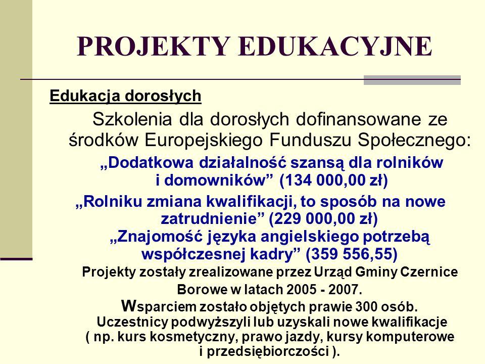 PROJEKTY EDUKACYJNE Edukacja dorosłych Szkolenia dla dorosłych dofinansowane ze środków Europejskiego Funduszu Społecznego: Dodatkowa działalność szansą dla rolników i domowników (134 000,00 zł) Rolniku zmiana kwalifikacji, to sposób na nowe zatrudnienie (229 000,00 zł) Znajomość języka angielskiego potrzebą współczesnej kadry (359 556,55) Projekty zostały zrealizowane przez Urząd Gminy Czernice Borowe w latach 2005 - 2007.