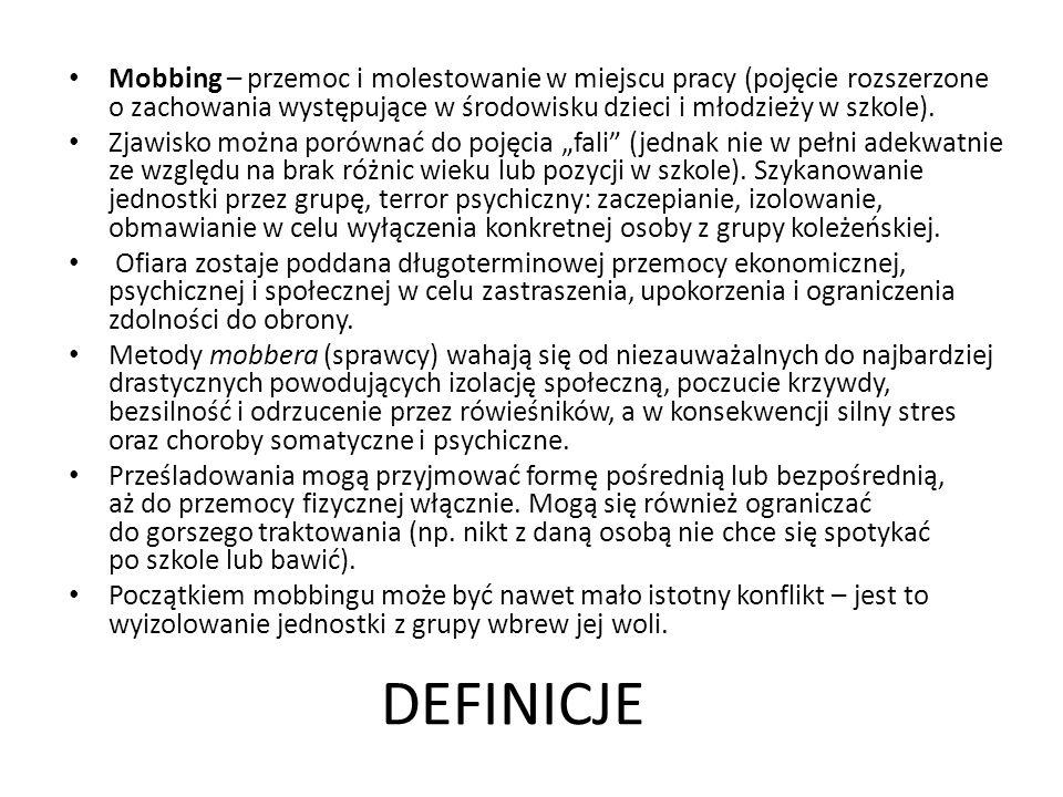 DEFINICJE Mobbing – przemoc i molestowanie w miejscu pracy (pojęcie rozszerzone o zachowania występujące w środowisku dzieci i młodzieży w szkole).