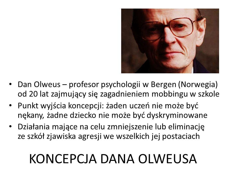 KONCEPCJA DANA OLWEUSA Dan Olweus – profesor psychologii w Bergen (Norwegia) od 20 lat zajmujący się zagadnieniem mobbingu w szkole Punkt wyjścia koncepcji: żaden uczeń nie może być nękany, żadne dziecko nie może być dyskryminowane Działania mające na celu zmniejszenie lub eliminację ze szkół zjawiska agresji we wszelkich jej postaciach