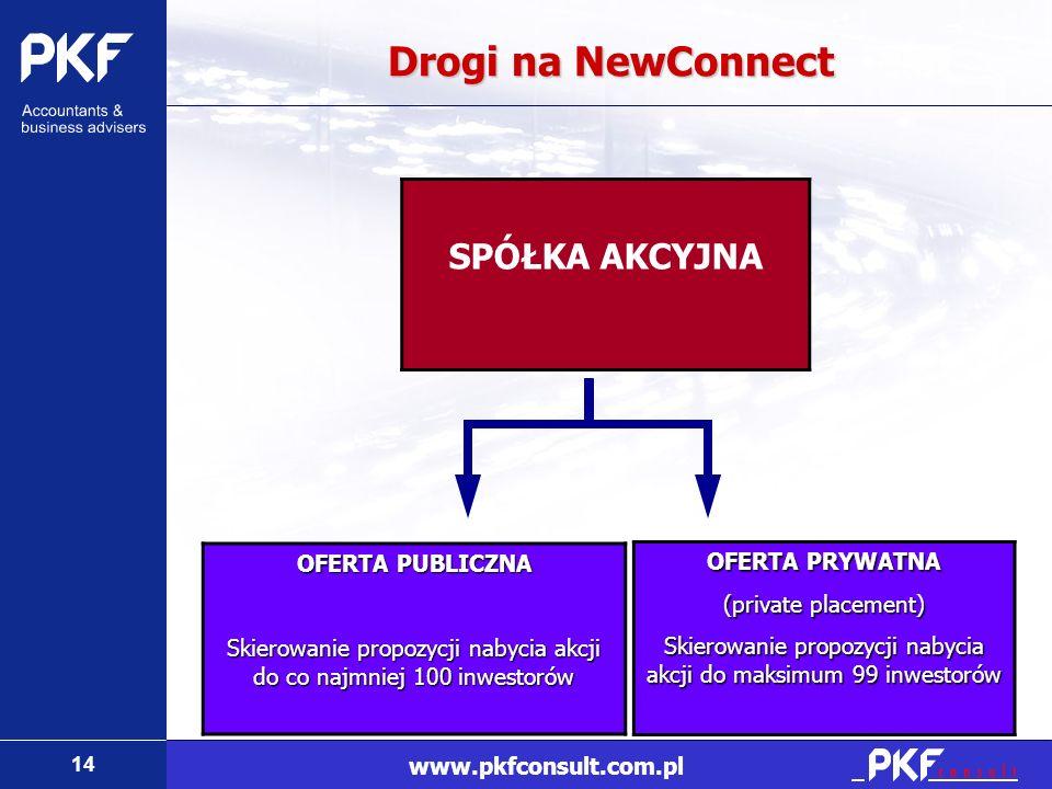 14 www.pkfconsult.com.pl Drogi na NewConnect SPÓŁKA AKCYJNA OFERTA PUBLICZNA Skierowanie propozycji nabycia akcji do co najmniej 100 inwestorów OFERTA