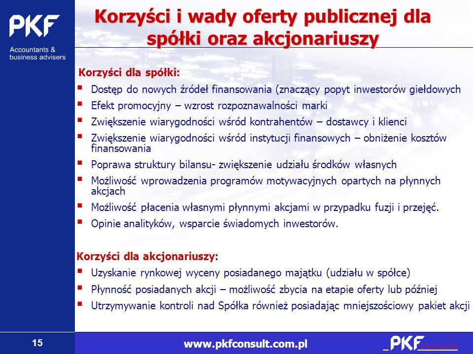 15 www.pkfconsult.com.pl Korzyści i wady oferty publicznej dla spółki oraz akcjonariuszy Korzyści dla spółki: Dostęp do nowych źródeł finansowania (zn