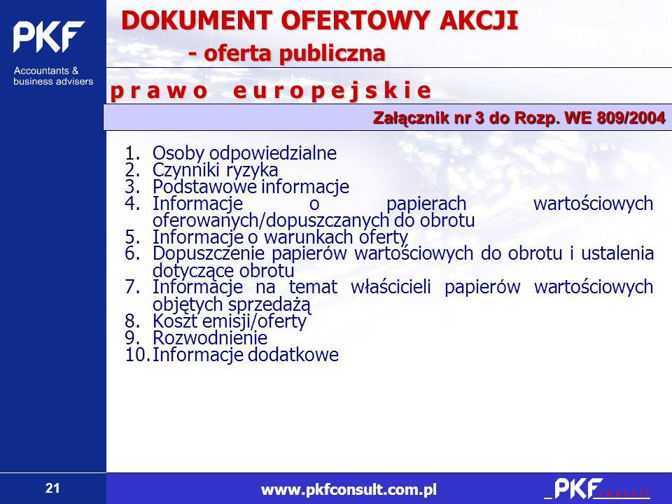21 www.pkfconsult.com.pl 1.Osoby odpowiedzialne 2.Czynniki ryzyka 3.Podstawowe informacje 4.Informacje o papierach wartościowych oferowanych/dopuszcza