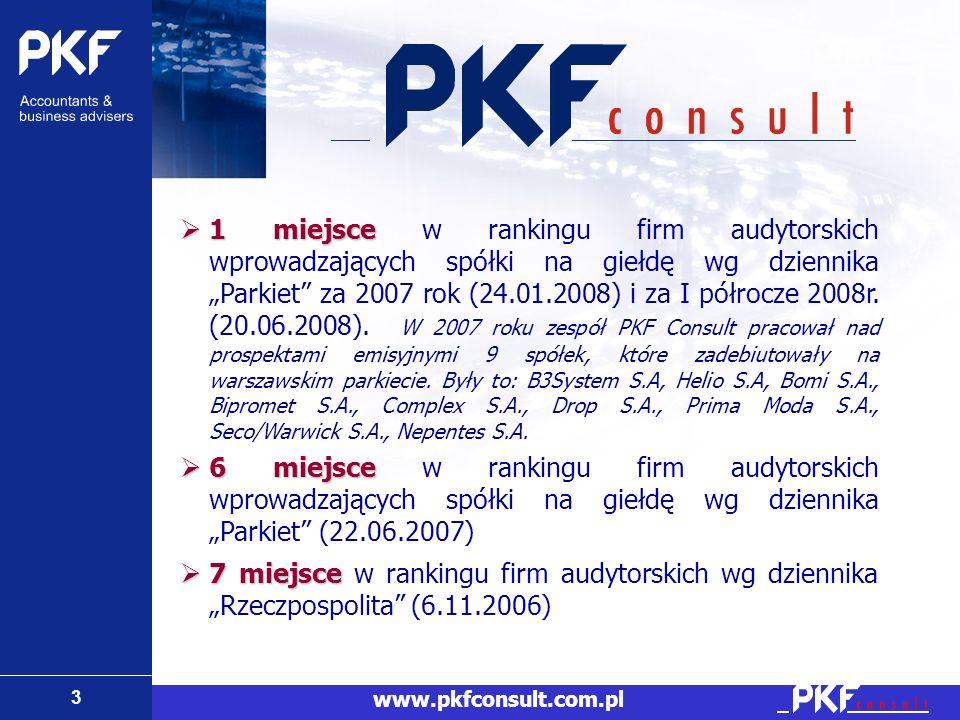 3 www.pkfconsult.com.pl 1 miejsce 1 miejsce w rankingu firm audytorskich wprowadzających spółki na giełdę wg dziennika Parkiet za 2007 rok (24.01.2008