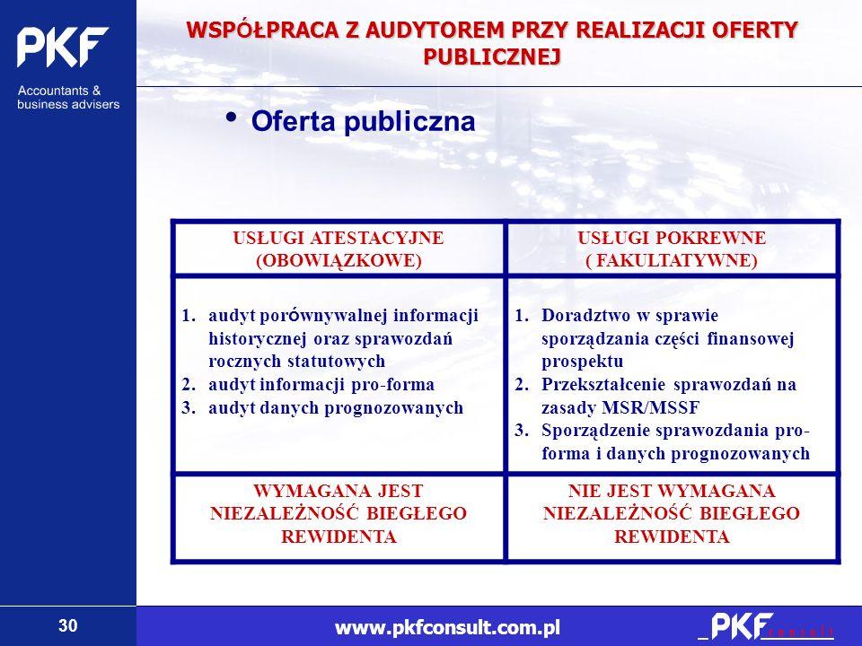 30 www.pkfconsult.com.pl WSP Ó ŁPRACA Z AUDYTOREM PRZY REALIZACJI OFERTY PUBLICZNEJ USŁUGI ATESTACYJNE (OBOWIĄZKOWE) USŁUGI POKREWNE ( FAKULTATYWNE) 1
