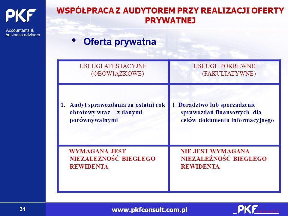 31 www.pkfconsult.com.pl WSP Ó ŁPRACA Z AUDYTOREM PRZY REALIZACJI OFERTY PRYWATNEJ Oferta prywatna USŁUGI ATESTACYJNE (OBOWIĄZKOWE) USŁUGI POKREWNE (F