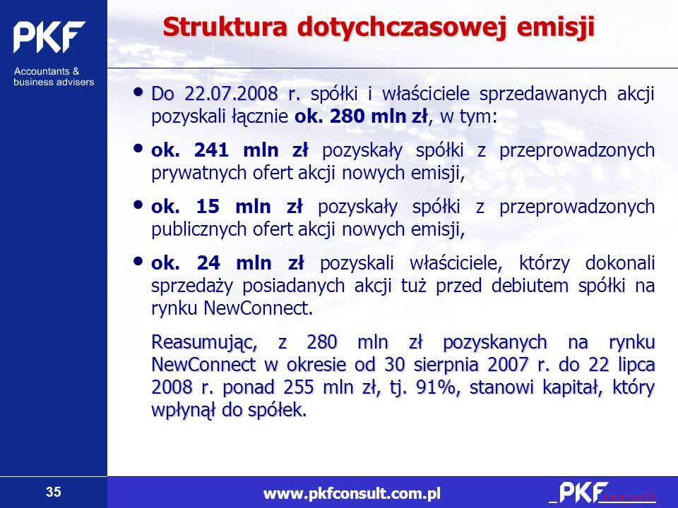35 www.pkfconsult.com.pl Struktura dotychczasowej emisji Do 22.07.2008 r. Do 22.07.2008 r. spółki i właściciele sprzedawanych akcji pozyskali łącznie
