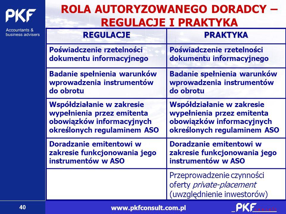 40 www.pkfconsult.com.pl ROLA AUTORYZOWANEGO DORADCY – REGULACJE I PRAKTYKA REGULACJEPRAKTYKA Poświadczenie rzetelności dokumentu informacyjnego Badan